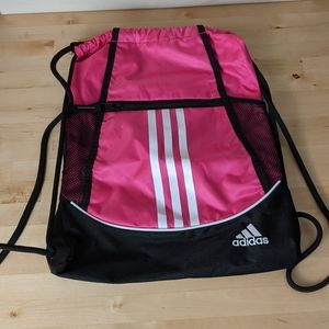 Adidas hot pink Front Zip Gym Sac backpack